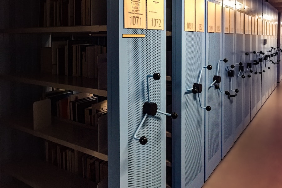 Archive shelves in Dresden, Germany