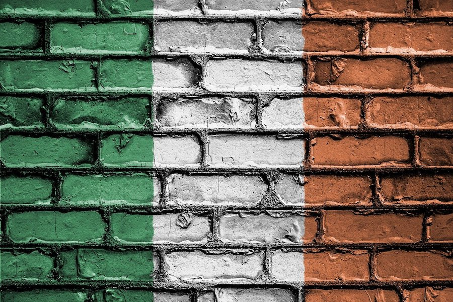 Irish flag colours on brick wall