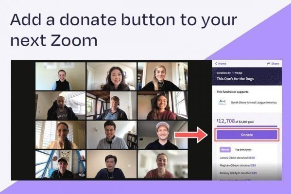 Zoom screen showing Donate button
