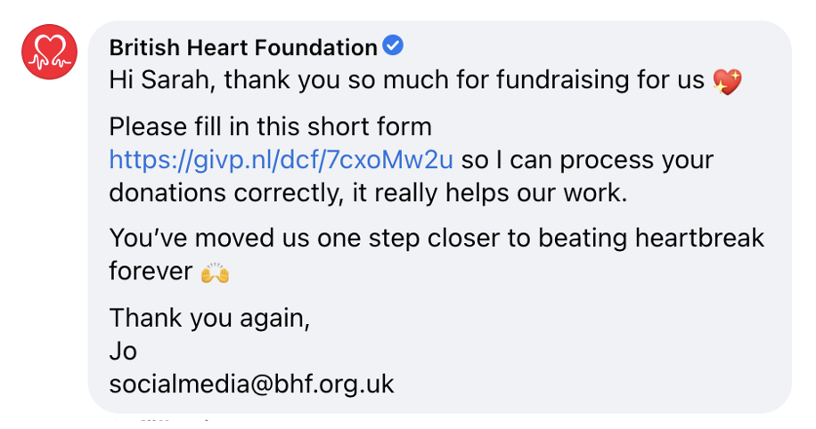 Thank you message from BHF