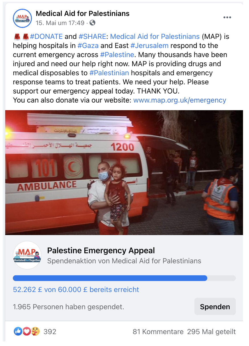 Medical Aid for Palestinians Emergency Appeal Post