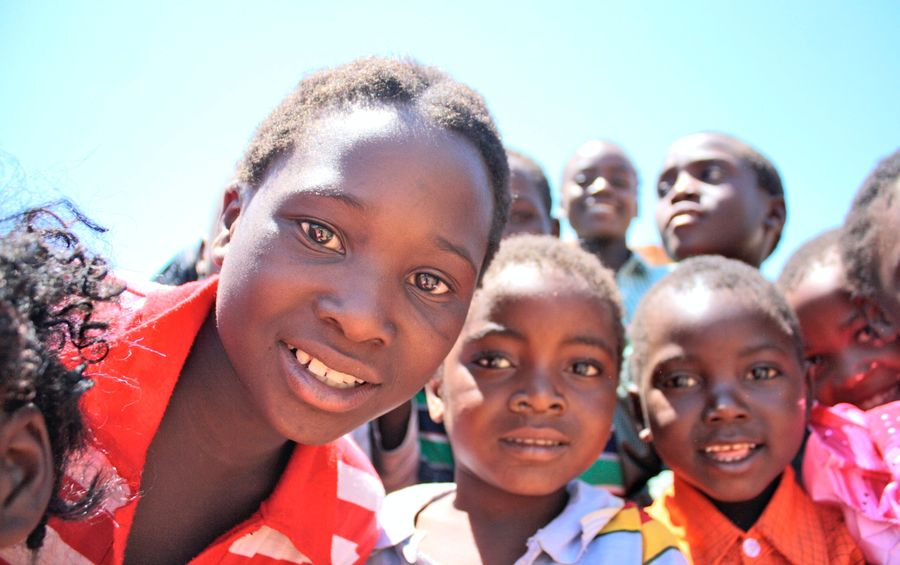 African children looking at the camera